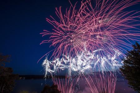 Fireworks at lake Stock Photo