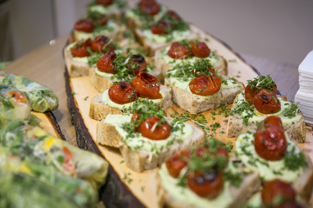 Catering  sandwiches with fresh cheese and tomato Stock Photo