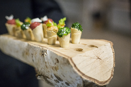 Catering  appetizer served in birch log
