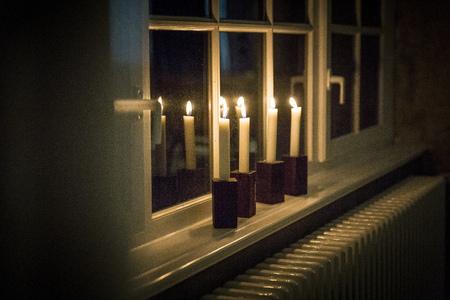 Candles on windowsill