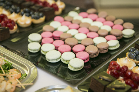 Macarons on buffet  catering 写真素材