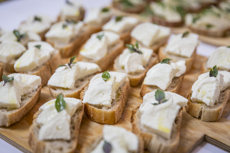 Catering  sandwiches with mozarella on wooden board