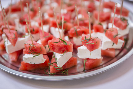 Skewers with watermelon & feta cheese  catering