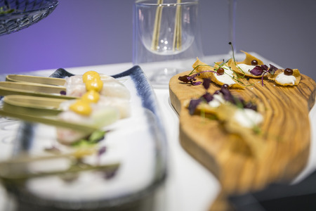 Catering  appetizer served on wooden board