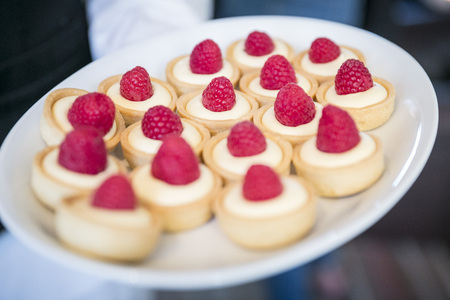 Raspberry tartlets  catering & buffet 写真素材