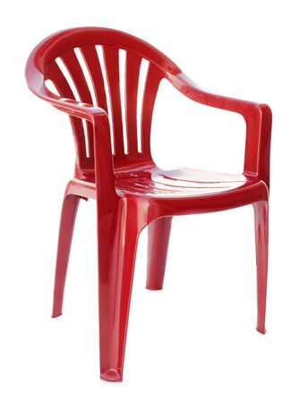 Red plastic chair on a white background