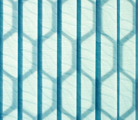 jalousie: Blue vertical jalousie made of cloth. Background Stock Photo
