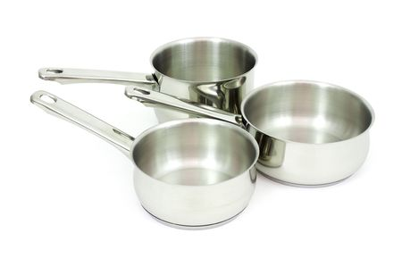 Ladles  made of stainless steel on a white background Stock Photo