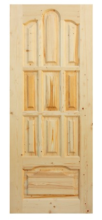 Wooden door made of coniferous tree on white background Stock Photo - 7242371