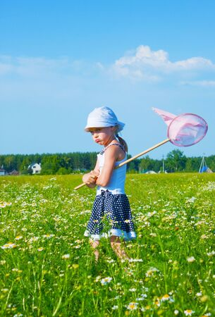The small angry girl on a meadow with a net