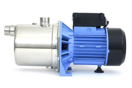 bomba de agua: Bomba con un motor el�ctrico de color azul  Foto de archivo