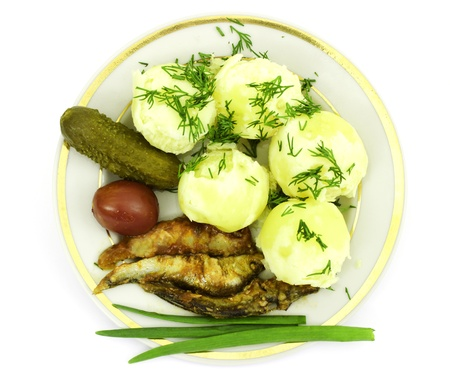 repast: Boiled potatoes with canned anchovies