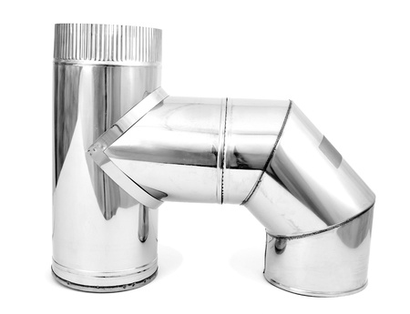 Element of stainless steel flues Stock Photo