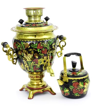 Russian samovar painted in folk style Stock Photo - 8426232