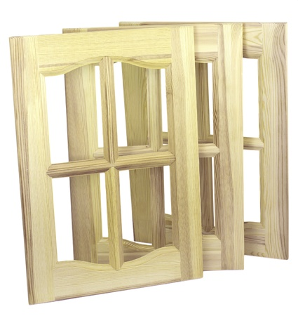 Three unpainted furniture doors, are made of a tree photo