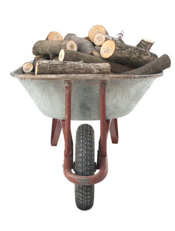 An old wheelbarrow full of firewood on a white background Stock Photo - 9249928