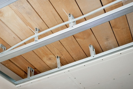 New electrical wiring installed in the ceiling Stock Photo