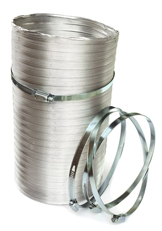 Duct and clamps on a white background