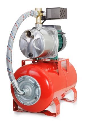 Automatic water pump with a red tank Stock Photo