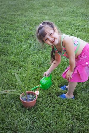 jocularity: Little girl watering the plants in the garden