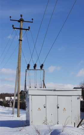 Electric substation on the edge of the village Stock Photo - 18336358