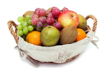 A small set of fruit in a basket on a white background photo