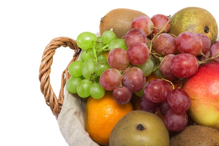 Grapes, pears and other fruits in the basket photo