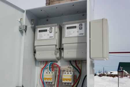 Two electric meter in a special locker