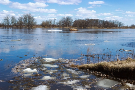 Last ice floating on the river in the spring photo