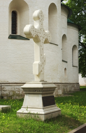 memorial cross: Memorial Cross di marmo Dmitry Pozharsky Suzdal Archivio Fotografico