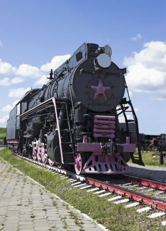xx century: Cargo Soviet locomotive 50-ies of the XX century Stock Photo