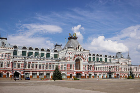 RUSSIA, NIZHNY NOVGOROD - AUG 07, 2014: Exhibition House, ensemble of the Nizhny Novgorod fair, was created in 1817.  In August of this year  there is carried out orthodox international fair.