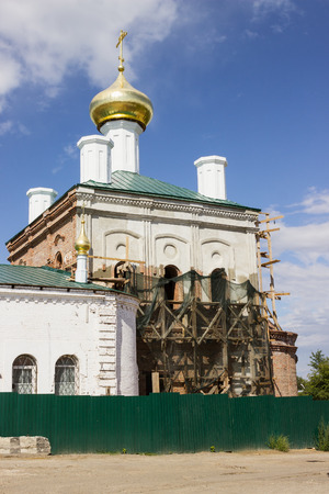 Restoration of the church, beheaded during the Soviet period. Russia photo