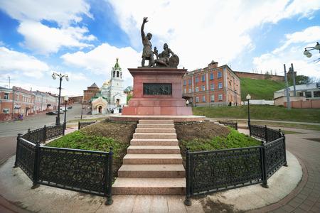 novgorod: RUSSIA, NIZHNY NOVGOROD - APR 30, 2012: Monument to Minin and Pozharsky of Nizhny Novgorod. One of these national heroes, was born in Nizhny Novgorod Editorial