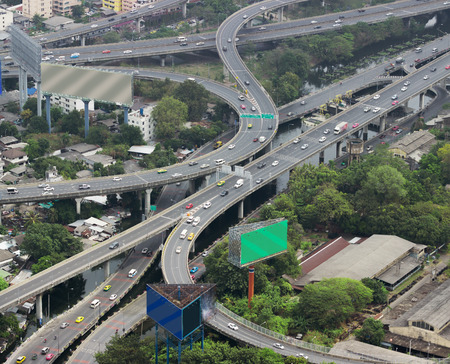 viaducts: Asian city with overpasses and viaducts, view from the heights Stock Photo
