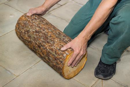 billet: Billet of logs in the hands of a carpenter on floor