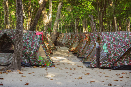 overnight: Tents camping for overnight stays of tourists at  Similan Islands Thailand