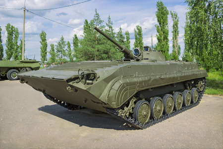 armament: RUSSIA, NIZHNY NOVGOROD, CIRCA JUL 2015: Soviet combat car infantry BMP-1,  produced from 1966, exhibition in N.Novgorod.  Car is well restored, the exhibition is open all year round