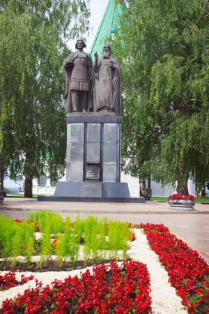 farther: NIZHNY NOVGOROD, RUSSIA - JUL 19, 2015: Monument to Saint Prince George Vsevolodovich (founder of Nizhny Novgorod) and his spiritual farther Simon Suzdalsky. Kremlin in Nizhny Novgorod