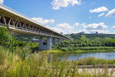 oka: Metro bridge in Nizhny Novgorod in Russia built over the river Oka