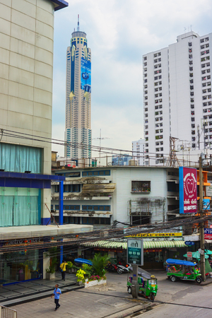 m hotel: BANGKOK, THAILAND - FEB 20, 2015: In distance you can see the skyscraper hotel,  Baiyoke sky. The building is considered the tallest in Bangkok and has a height of 304 m above the ground