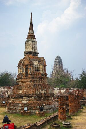 historic architecture: Historic architecture of Wat  Mahathat in Ayutthaya historic park, Thailand Stock Photo