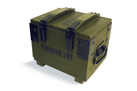 warheads: Wooden box for warheads, belonging to the army