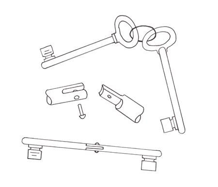 hinge: Two keys are spliced by a hinge. Sketch Stock Photo