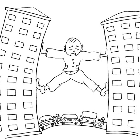travesty: Sad man trying to move house, which prevent urban transport. Pencil drawing Stock Photo