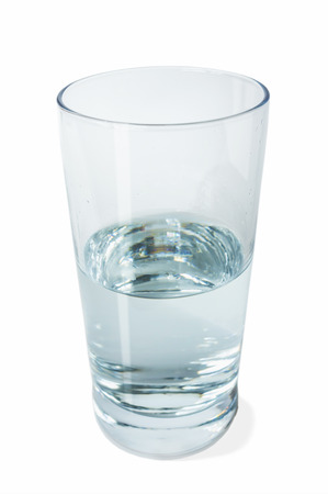 half full: Half full glass of crystal clear water