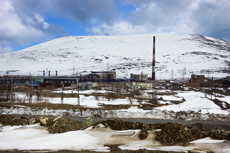 polar station: Industrial zone in the mountains, in the polar regions of Russia
