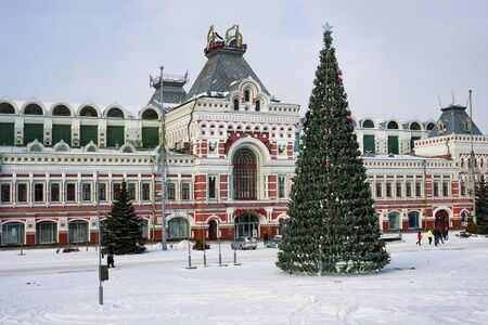 RUSSIA, NIZHNY NOVGOROD - DEC 10, 2016: Exhibition House, fragment ensemble of the Nizhny Novgorod fair, was created in 1817.  In December of this year  there is carried out orthodox international fair