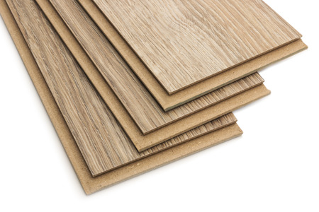 Laminate plates, imitating oak wood on a white background