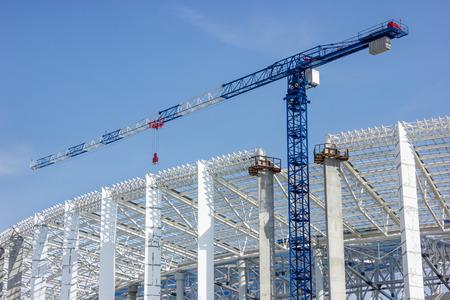 Tower crane on stadium construction in Nizhny Novgorod, Russia Stock Photo